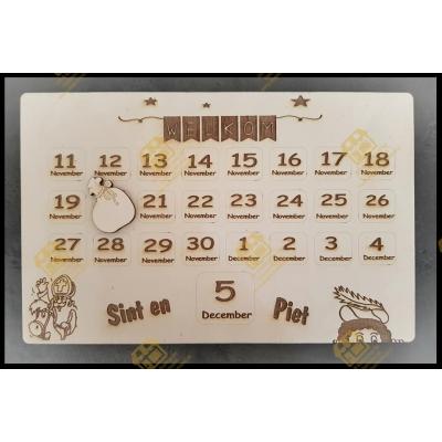 Houten Sinterklaas aftel kalender